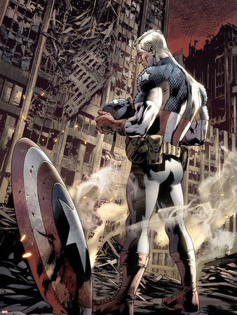 Ultimate Fallout No.6 Cover: Captain America Standing, Looking at his Shield Wall Decal by Bryan Hitch