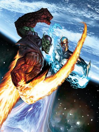 Nova No.16 Cover: Nova and Super Skrull Plastic Sign by Paul Davidson