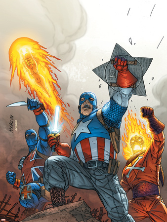 The New Invaders No.2 Cover: Captain America Wall Decal by Scott Kolins