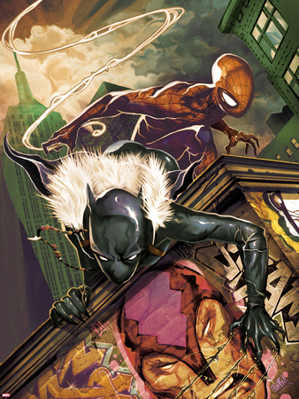 Klaws of The Panther No.3 Cover: Black Panther and Spider-Man Crouching Wall Decal by Mike Del Mundo