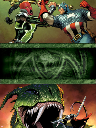 Fear Itself No.7 Cover: Red Skull and Captain America Fighting Plastic Sign by Steve MCNiven