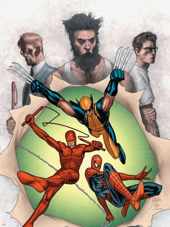 Powerless No.6 Cover: Wolverine, Daredevil, Matt Murdock, Spider-Man, Peter Parker, Logan Plastic Sign by Steve MCNiven