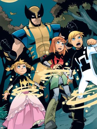 X-Men & Power Pack No.1 Group: Wolverine, Energizer, Mass Master, Lightspeed, Zero-G and Power Pack ...