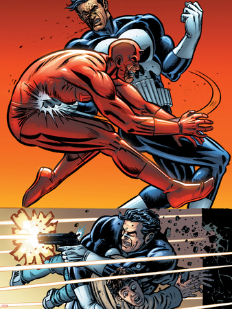 Daredevil Vs. Punisher No.5 Cover: Daredevil and Punisher Wall Decal by Dave Lapham