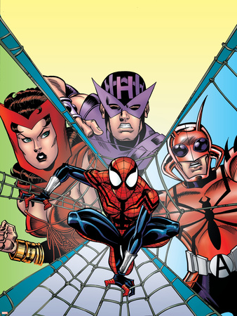 Spider-Girl No.94 Cover: Spider-Man, Hawkeye, Scarlet Witch and Ant-Man Wall Decal by Ron Frenz