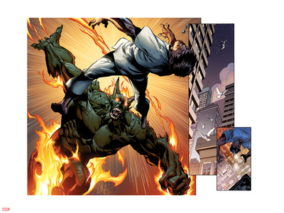 Ultimate Spider-Man No.157: Panels with Green Goblin Fighting and Flaming Wall Decal by Mark Bagley