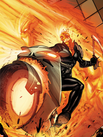 Venom No.13.1 Cover: Ghost Rider Riding a Flaming Motorcycle Plastic Sign