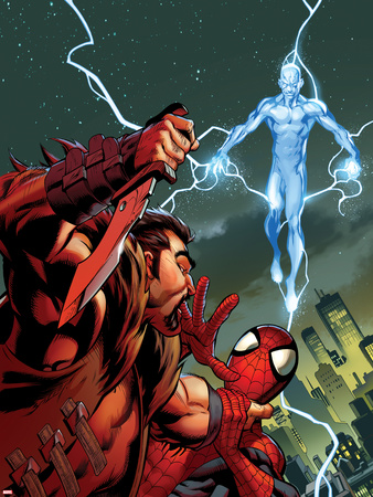 Ultimate Spider-Man No.159 Cover: Kraven The Hunter and Electro for the Death of Spider-Man Wall Decal by Mark Bagley