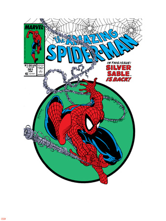 Amazing Spider-Man No.301 Cover: Spider-Man Swinging Wall Decal by Todd McFarlane