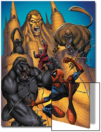 Marvel Adventures Spider-Man No.20 Cover: Sandman, Red Ghost and Spider-Man Fighting a Gorilla Prints by  Sotocolor