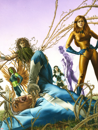 Son Of M No.3 Cover: Quicksilver and Crystal Plastic Sign by Roy Allan Martinez