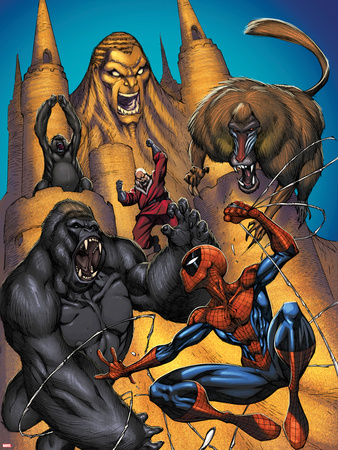 Marvel Adventures Spider-Man No.20 Cover: Sandman, Red Ghost and Spider-Man Fighting a Gorilla Plastic Sign by  Sotocolor