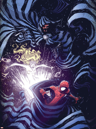 Marvel Adventures Spider-Man No.56 Cover: Spider-Man Cloak and Dagger Plastic Sign by Skottie Young
