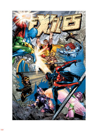 Exiles No.77 Cover: Spider-Man, Morph, Hyperion, Blink, Zarda, Whizzer and Dr. Spectrum Wall Decal by James Calafiore