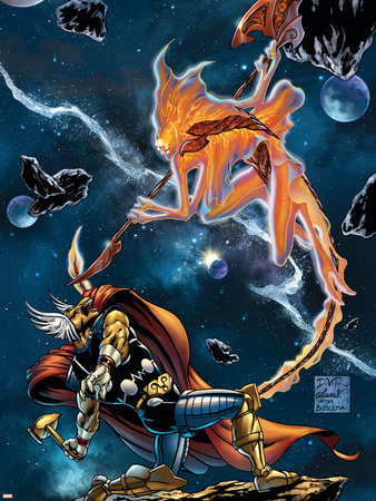 Stormbreaker: The Saga Of Beta Ray Bill No.3 Cover: Stardust and Beta-Ray Bill Flying Plastic Sign by Andrea Di Vito