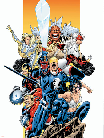 The Official Handbook Of The Marvel Universe Teams 2005 Group: Captain Britain Plastic Sign by Pablo Raimondi