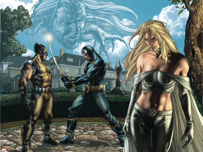 Wolverine No.55 Group: Cyclops, Wolverine, Emma Frost and Sabretooth Fighting Wall Decal by Simone Bianchi