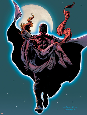 Excalibur No.14 Cover: Magneto and Scarlet Witch Flying Wall Decal by Aaron Lopresti