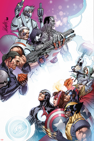 Cable and X-Force 10 Cover: Forge, Cable, Domino, Dr. Nemesis, Colossus, Rogue, Thor, Sunfire Wall Decal by Salvador Larroca