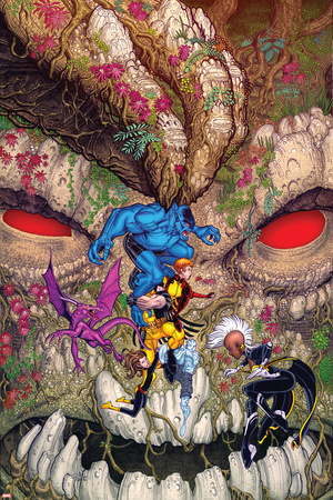 Wolverine and the X-Men 33 Cover: Beast, Wolverine, Summers, Rachel, Lockheed, Pryde, Kitty, Storm Plastic Sign by Nick Bradshaw