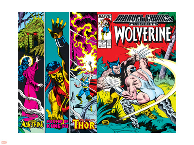 Marvel Comics Presents No.4 Cover: Wolverine, Razorfist, Marvel Babies and Spider-Man Fighting Plastic Sign by John Buscema