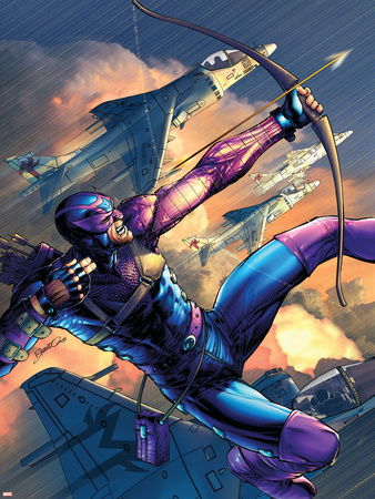 House Of M No.4 Cover: Hawkeye Plastic Sign by Brandon Peterson