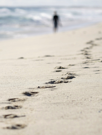 Person Walks Along Scarborough Beach in Perth Photographic Print by TIM WIMBORNE