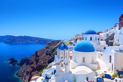 Village of Oia in Santorini Photographic Print by Gyula Gyukli