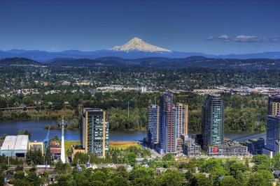 Portland Oregon with Mount Hood in the Background Photographic Print by  vincentlouis