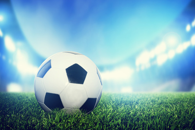 Football, Soccer Match. A Leather Ball on Grass on the Stadium Photographic Print by Photocreo Bednarek