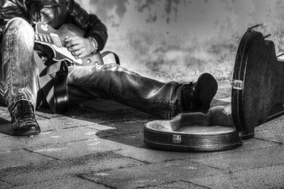B&W Guitar Player in the Street with an Open Guitar Case Photographic Print by Gabriele Maltinti