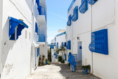 Sidi Bou Said in Tunisia, Streets and Buildings near Town Center Photographic Print by Calin Stan