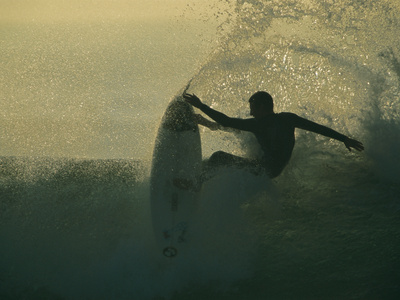 In a Spray of Surf, a Surfer Leaps Up on a Breaking Wave Kunst på metal af Tim Laman