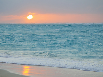 Sunset in Paradise over the Caribbean and on a Beach Kunst på metal af Mike Theiss