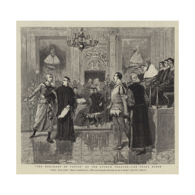 The Merchant of Venice at the Lyceum Theatre, the Trial Scene Giclee Print by Adrien Emmanuel Marie