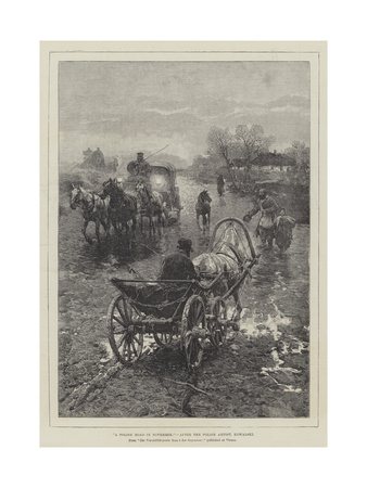 A Polish Road in November Giclee Print by Alfred von Wierusz-Kowalski