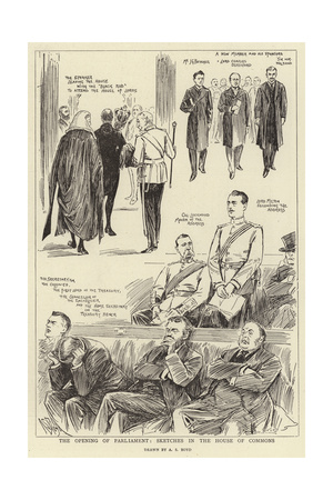 The Opening of Parliament, Sketches in the House of Commons Giclee Print by Alexander Stuart Boyd