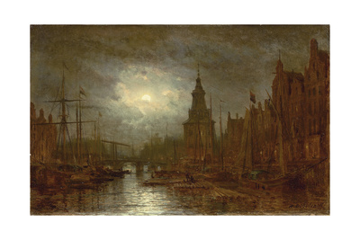 Amsterdam at Night, 1870s Giclee Print by Aleksei Petrovich Bogolyubov