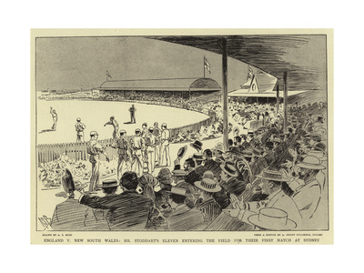 England V New South Wales; Mr Stoddart's Eleven Entering the Field for their First Match at Sydney Giclee Print by Alexander Stuart Boyd