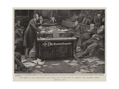 The Debate on the Agricultural Land Rating Bill in the House of Commons, the All-Night Sitting Giclee Print by Alexander Stuart Boyd