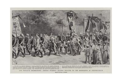 The Bismarck Celebrations, German Students Bearing Wreaths to the Mausoleum at Friedrichsruh Giclee Print by Alexander Stuart Boyd