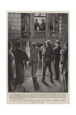 A Parley with the Rioters Outside the Imperial Ottoman Bank Giclee Print by Alexander Stuart Boyd