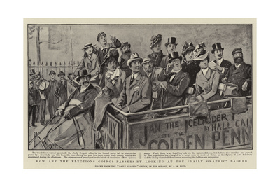 How are the Elections Going Passers-By Looking at the Daily Graphic Ladder Giclee Print by Alexander Stuart Boyd