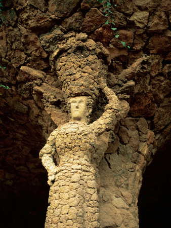 Sculpture of the Laundress, Park Guell Photographic Print by Antoni Gaudi