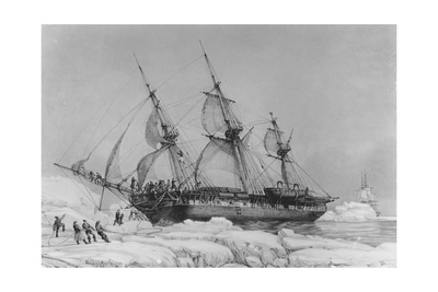 The Astrolabe in Pack-Ice, 9th February, 1838 Giclee Print by Auguste Etienne Francois Mayer