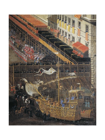 Saracen Joust in Piazza Navona, February 25, 1634, Detail with the Machine in the Shape of Ship Giclee Print by Andrea Sacchi