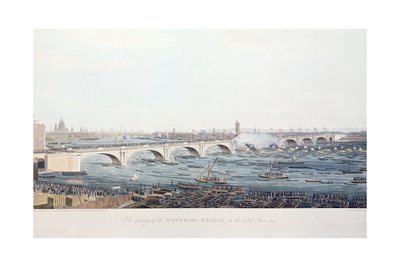 The Opening of the Waterloo Bridge on the 18th of June Giclee Print by Augustus Charles Pugin