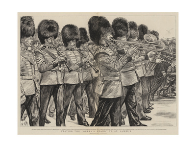 Playing the Queen's Guard to St James's Giclee Print by Charles Paul Renouard