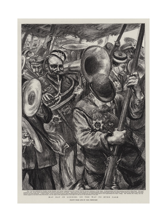 May Day in London, on the Way to Hyde Park Giclee Print by Charles Paul Renouard