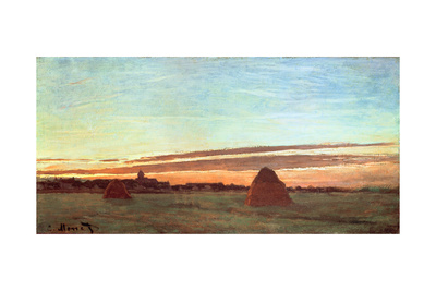 Haystacks at Chailly, 1865 Giclee Print by Claude Monet